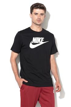 Nike, Tricou de bumbac Icon Futura, Negru/Alb