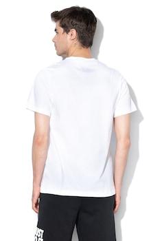 Nike, Tricou cu logo si decolteu la baza gatului JDI, Alb/Negru