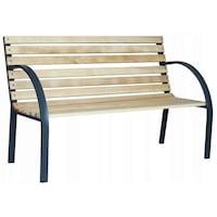 Banca de gradina din lemn cu structura metalica 123x54x77 cm - EVERILD