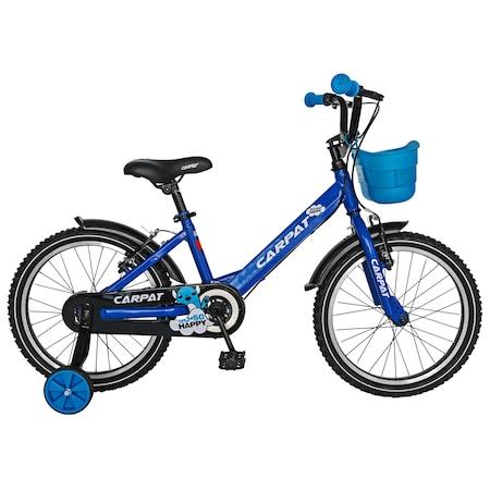"Bicicleta Carpat pentru baieti C1801C, roata 18"", frana V-Brake, roti ajutatoare, 5-7 ani, albastru /negru"