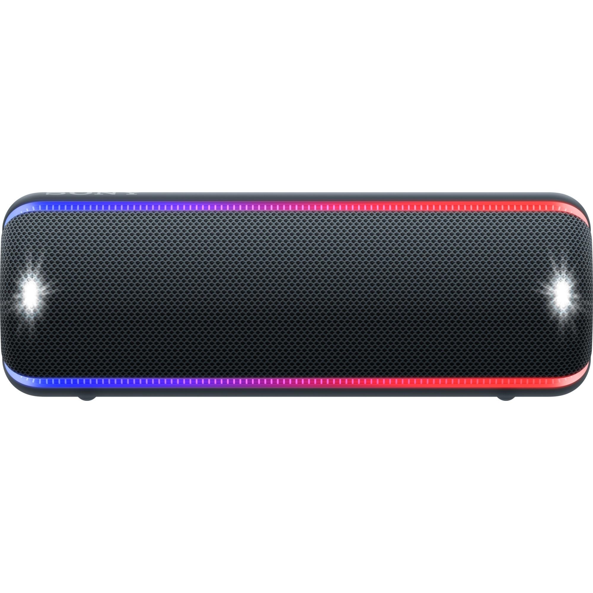 Fotografie Boxa portabila Sony SRS-XB32, Extra Bass, LIVE SOUND, Fiestable, Wireless Party Chain, Party Booster, Efect de lumini, Rezistenta la apa IP67, Bluetooth 4.2, NFC, Autonomie 24 ore, USB cu functie de incarcare, Negru