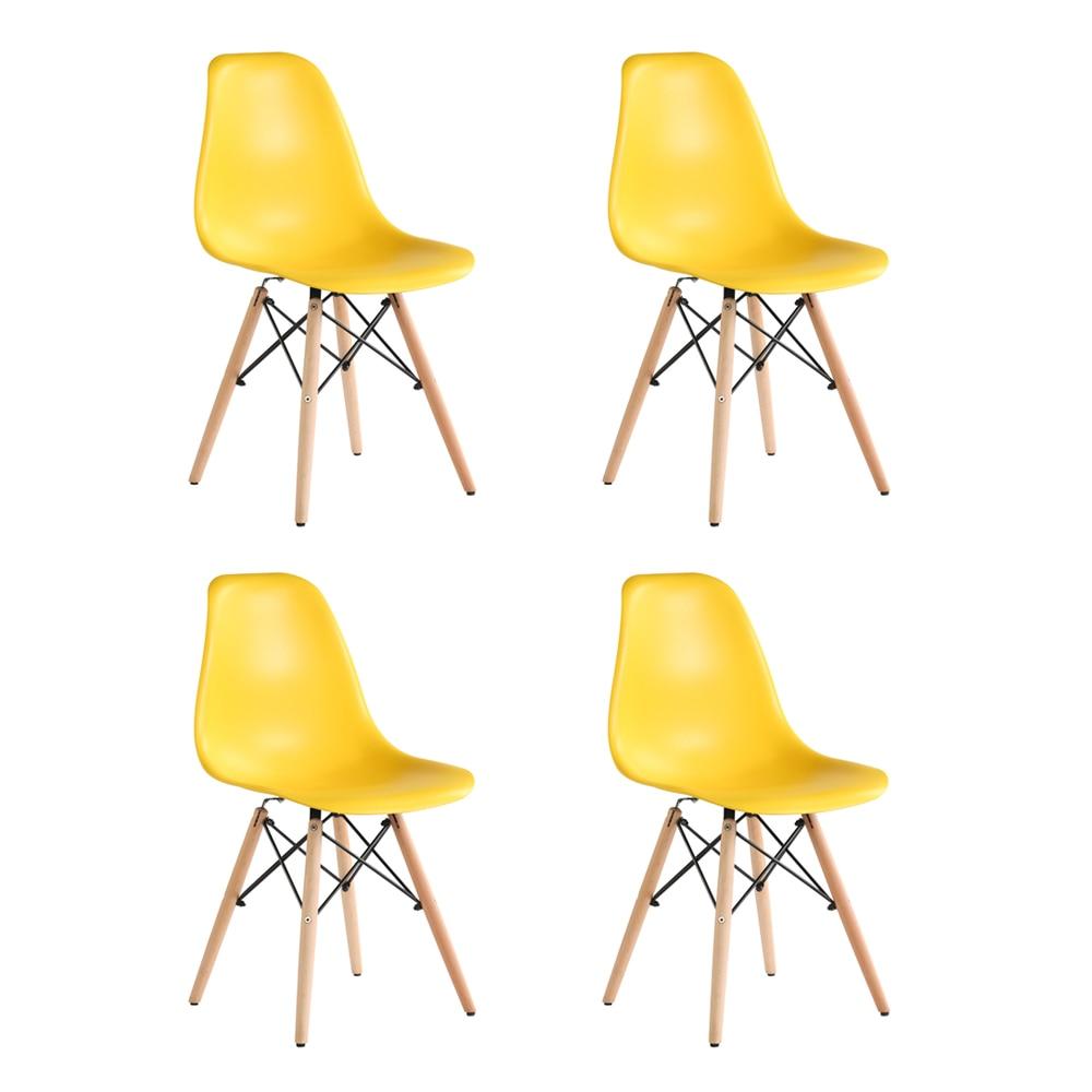 Fotografie Set 4 scaune Truly Heinner Home, sezut plastic, picioare lemn, Galben