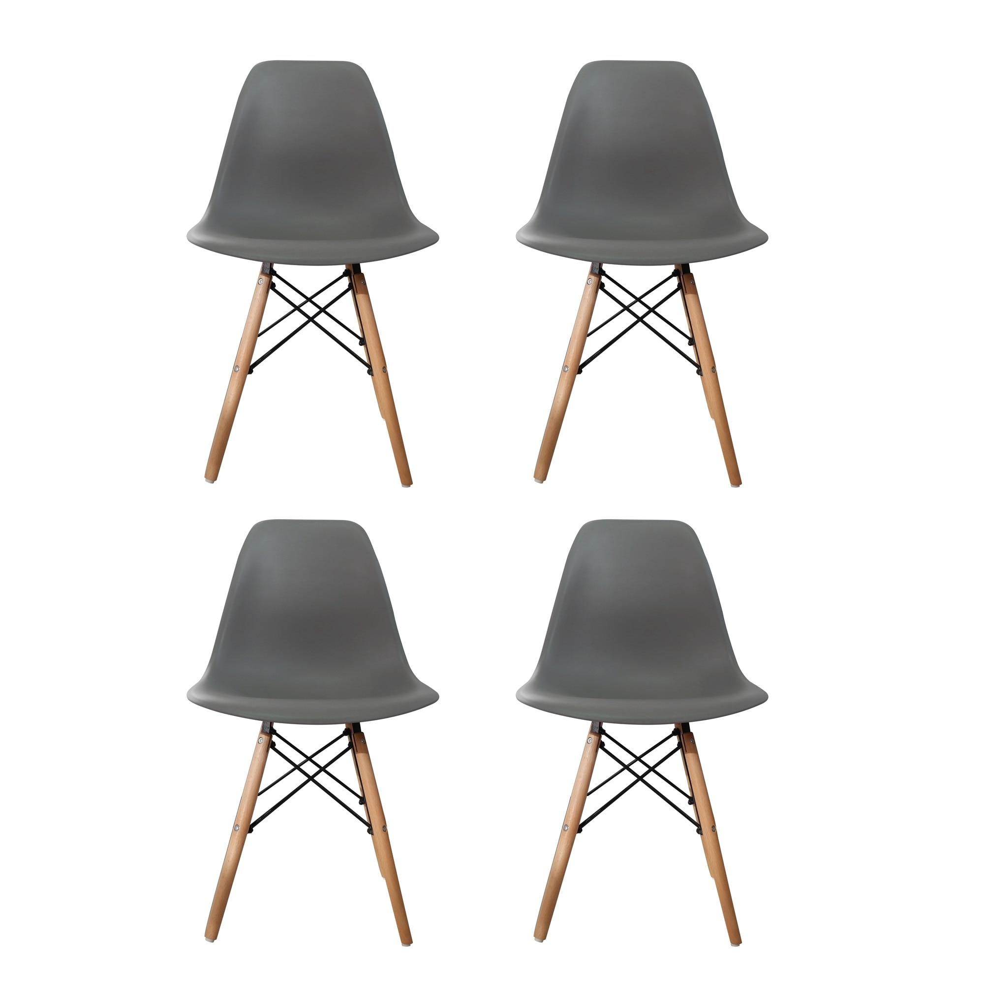 Fotografie Set 4 scaune Truly Heinner Home, sezut plastic, picioare lemn, Gri