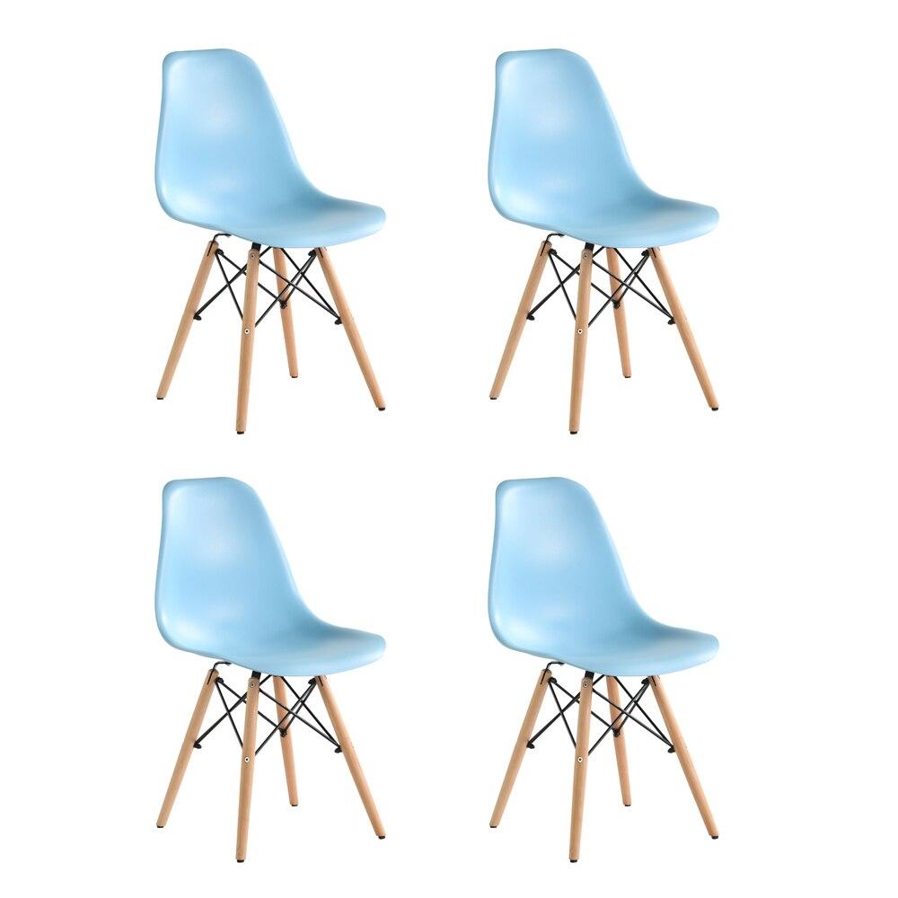 Fotografie Set 4 scaune Truly Heinner Home, sezut plastic, picioare lemn, Albastru