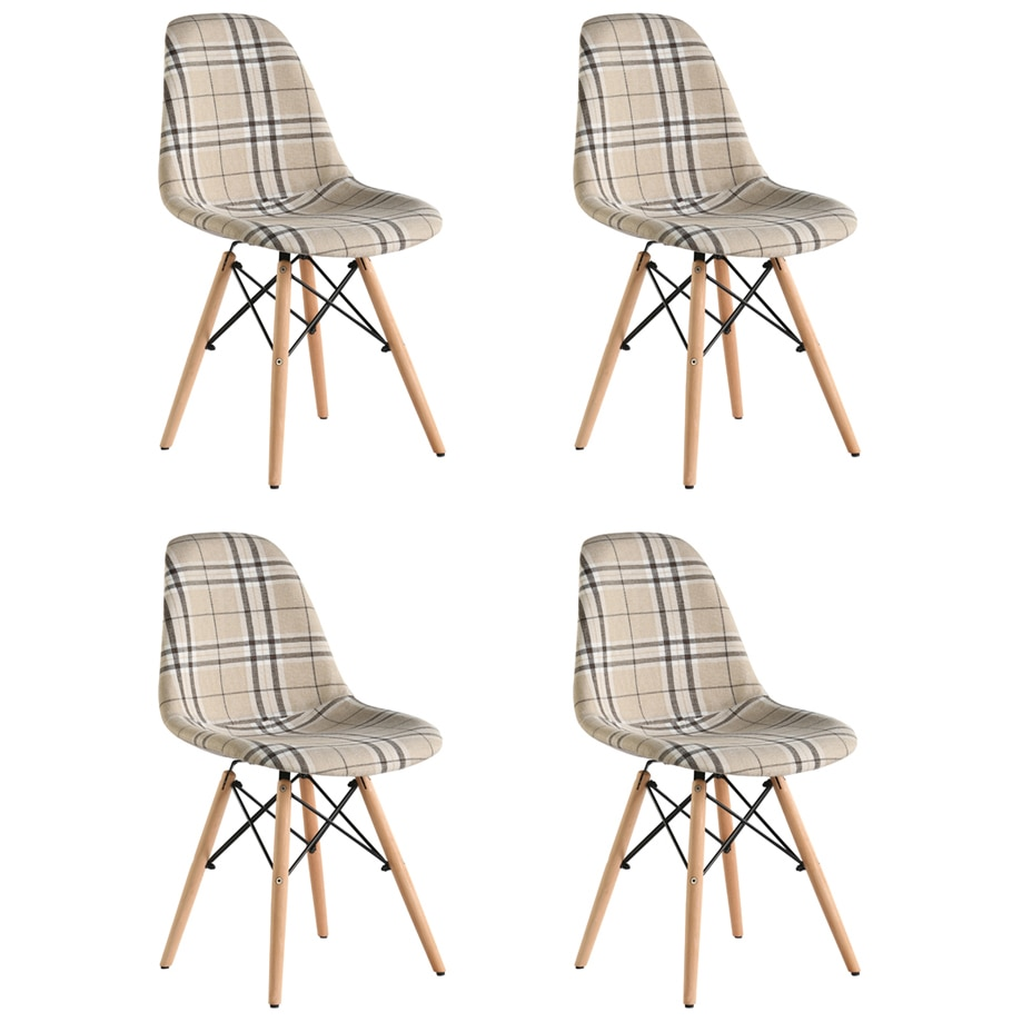 Fotografie Set 4 scaune tapitate Truly Heinner Home, picioare lemn, carouri