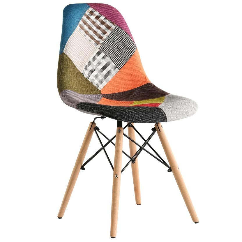 Heinner Home Truly Patch Checker kárpitozott szék, 4 darab, Fa lábak, Többszínű