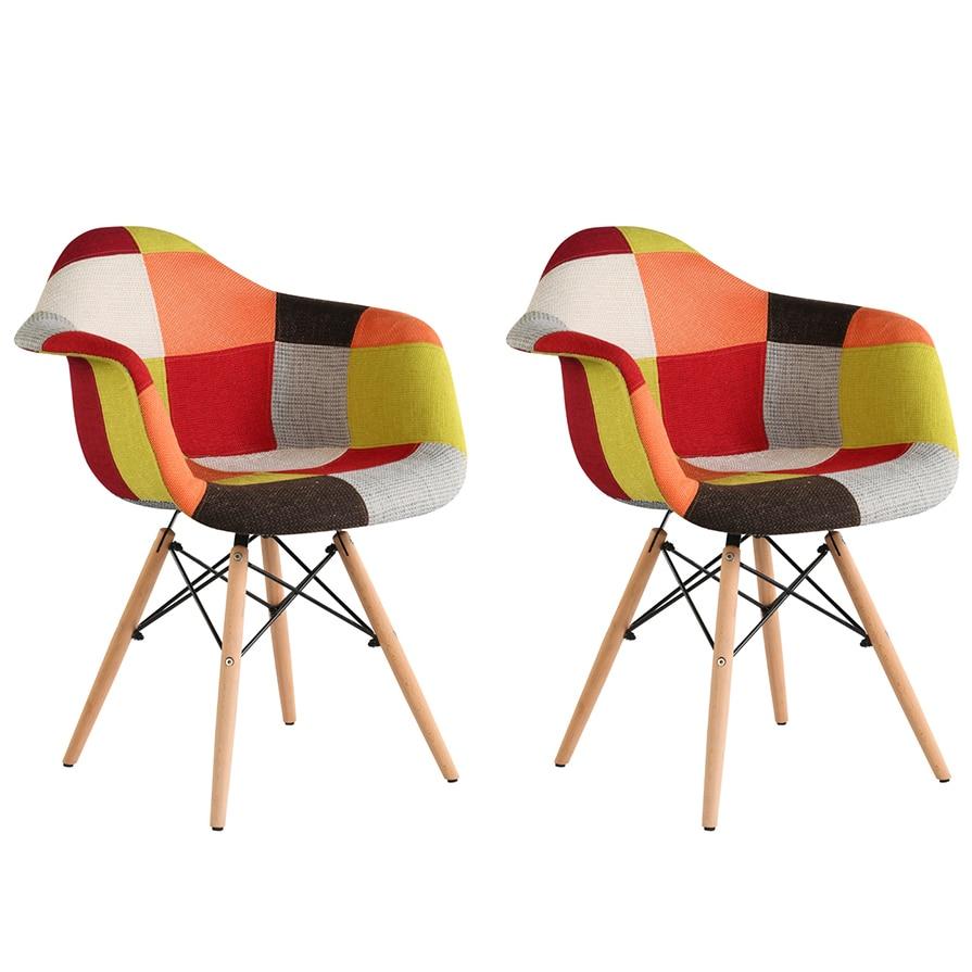 Fotografie Set 2 scaune tapitate Cosy Orange Heinner Home, picioare lemn, Multicolor