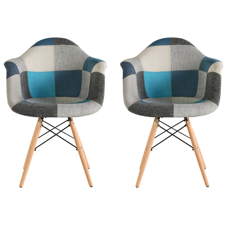 Fotografie Set 2 scaune tapitate Cosy Sky Heinner Home, picioare lemn, Multicolor