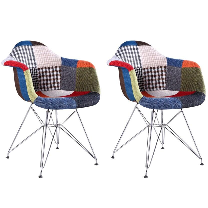 Fotografie Set 2 scaune tapitate Cosy Rainbow Heinner Home, picioare metal, Multicolor