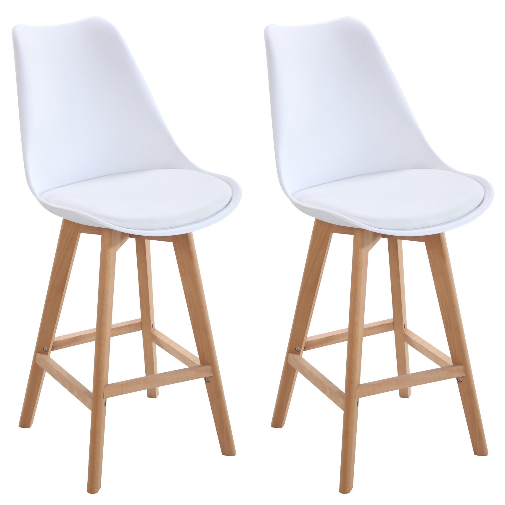Fotografie Set 2 scaune bar Itsy Heinner Home, piele ecologica, picioare lemn, Alb