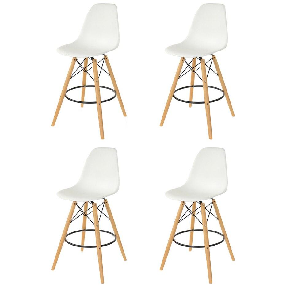 Fotografie Set 4 scaune bar Bitsy Heinner Home, sezut plastic, picioare lemn, Alb