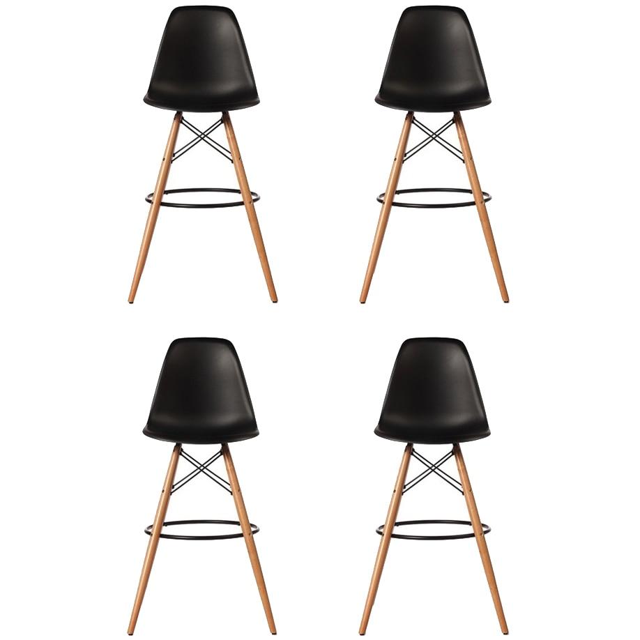 Fotografie Set 4 scaune bar Bitsy Heinner Home, sezut plastic, picioare lemn, Negru