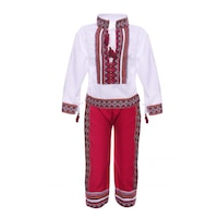 Costum traditional, motive traditionale, alb/rosu, DAE131, 5-6 ani