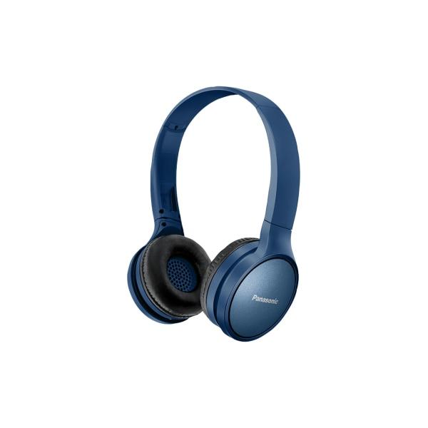 Fotografie Casti Bluetooth over head Panasonic RP-HF410BE-A, sunet de inalta calitate neodimium 30 mm, autonomie 24 ore, design pliabil cu mecanism pivotant, albastru