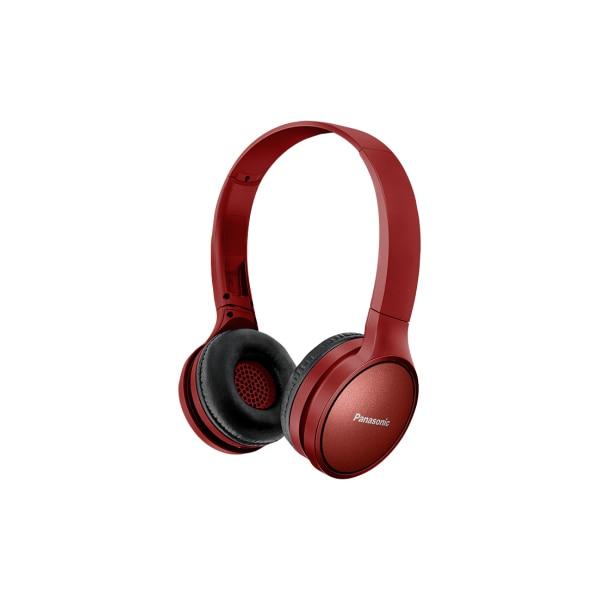 Fotografie Casti Bluetooth over head Panasonic RP-HF410BE-R, sunet de inalta calitate neodimium 30 mm, autonomie 24 ore, design pliabil cu mecanism pivotant, rosu