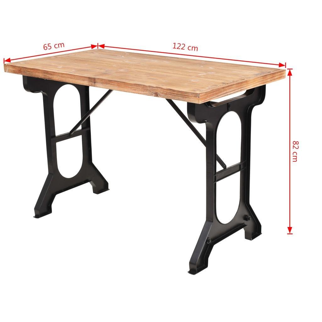 vidaXL étkezőasztal tömör fenyő asztallappal 122 x 65 x 82 cm AiA7H7