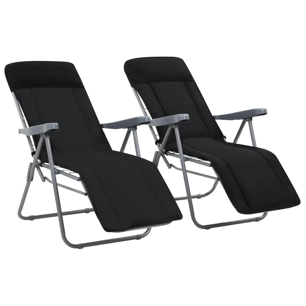 vidaXL 2 db összecsukható kerti szék fekete párnával