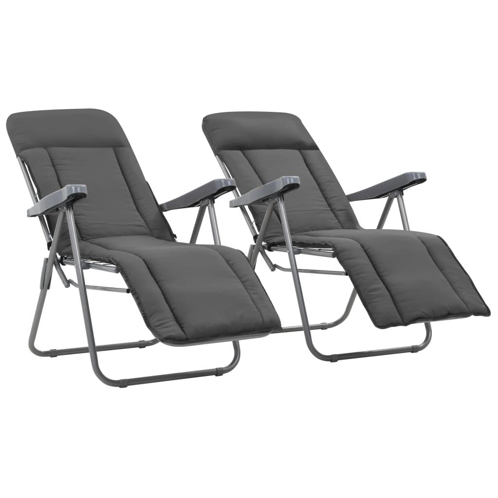 vidaXL 2 db összecsukható kerti szék szürke párnával eMAG.hu