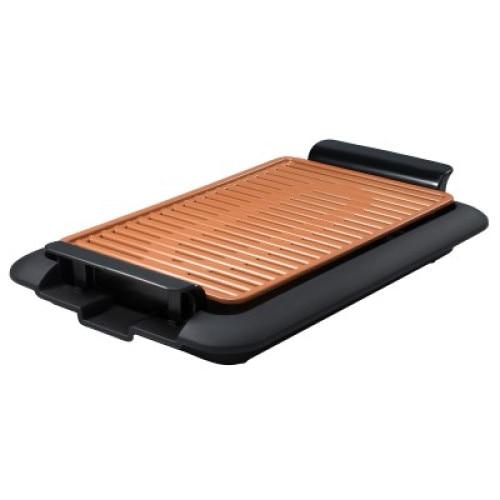 Fotografie Gratar electric Mediashop Livingtone Smokeless Grill 3336, Tava scurgere, 4 setari de temperatura, tehnologie TiCerama, 1000W, Nergu/Portocaliu