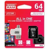 Goodram microSDHC 64GB Class 10 memóriakártya SD adapterrel, Micro USB / USB OTG kártyaolvasóval és Artisjus matricával - M1A4-0640R11