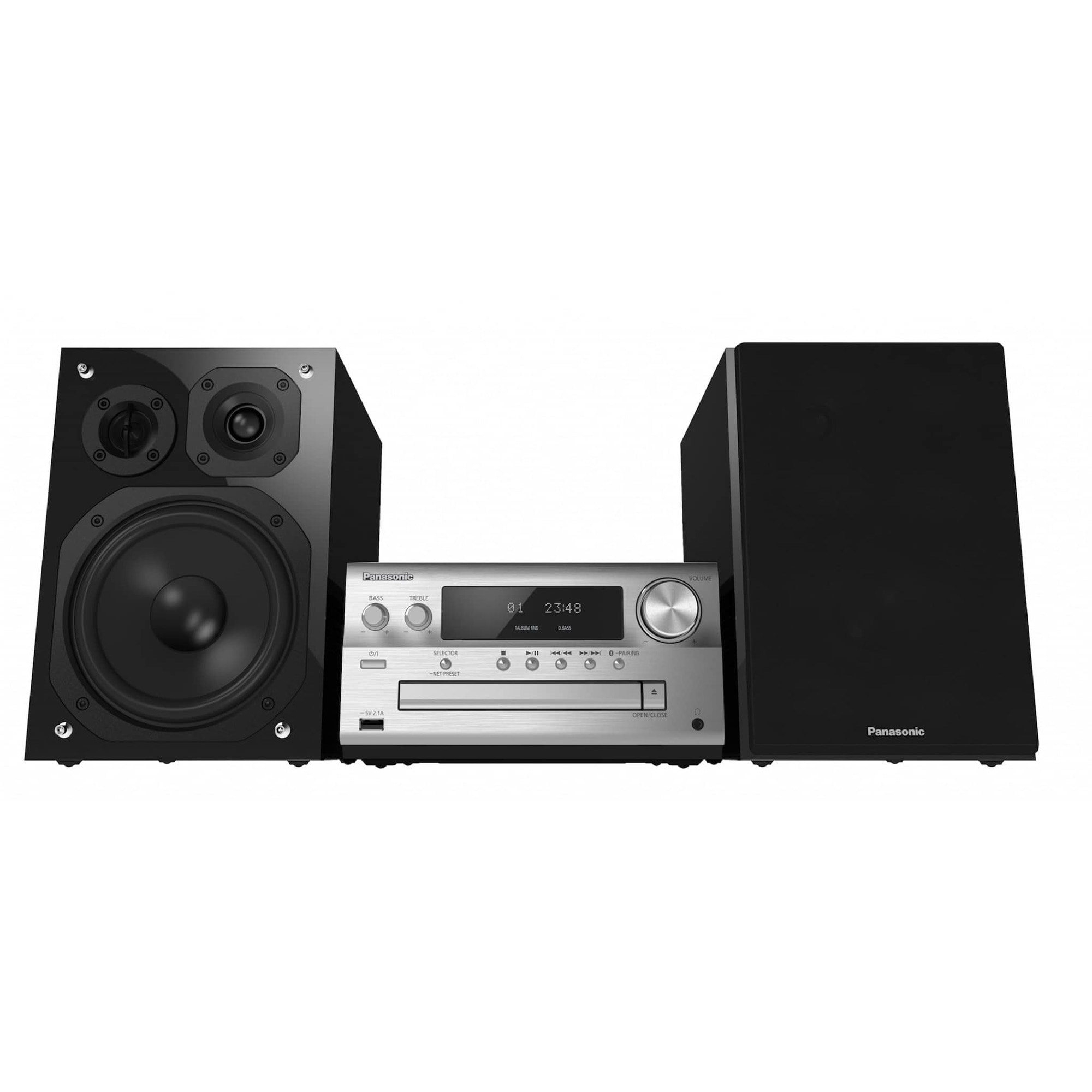 Fotografie Microsistem audio High-Res Panasonic SC-PMX90EG-S, 120W, BT, USB-DAC, Lincs D-Amp, Difuzoare 3 cai, Optical-in, Argintiu