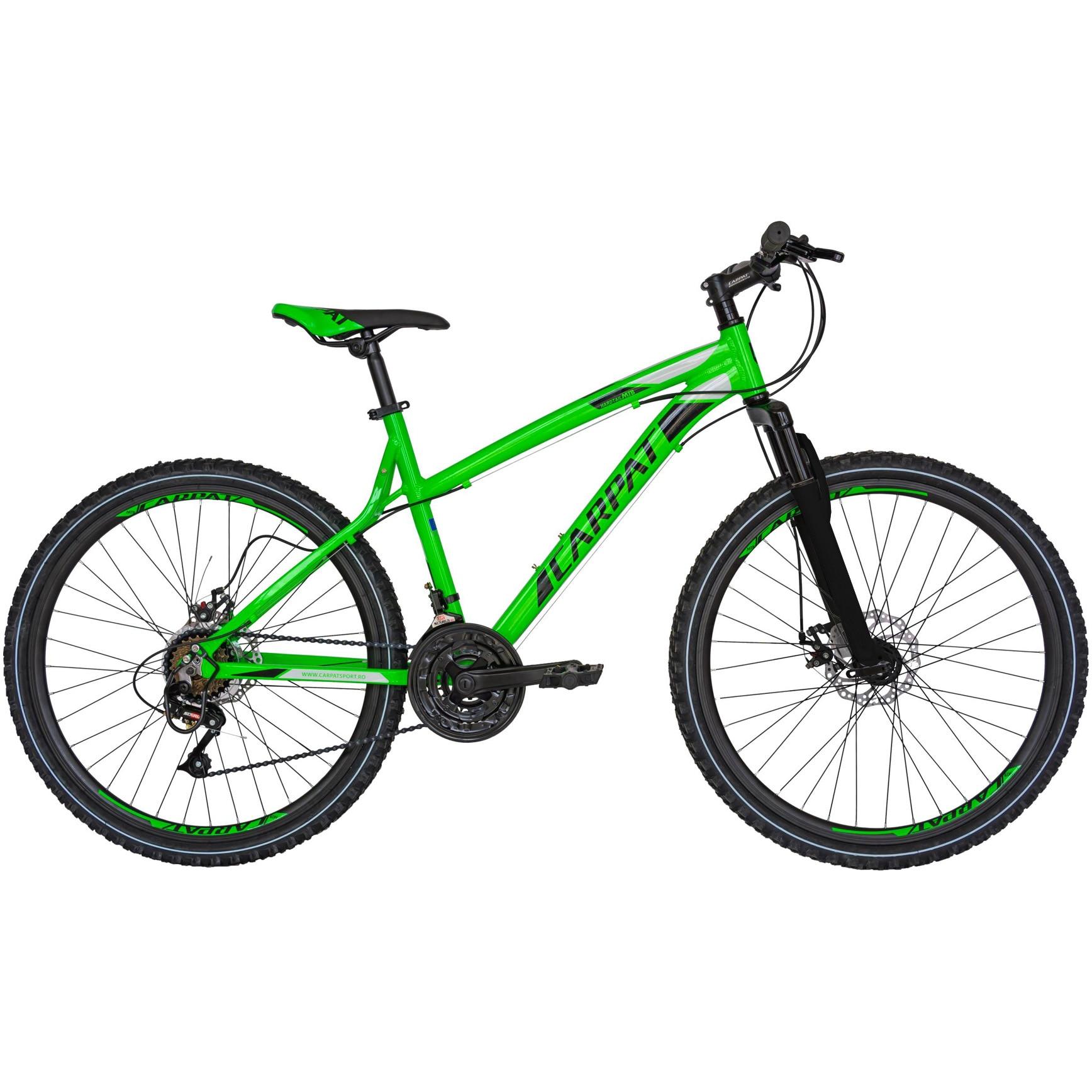 """Fotografie Bicicleta Carpat MTB AL 26"""" Disc V2654A, Verde/Negru"""