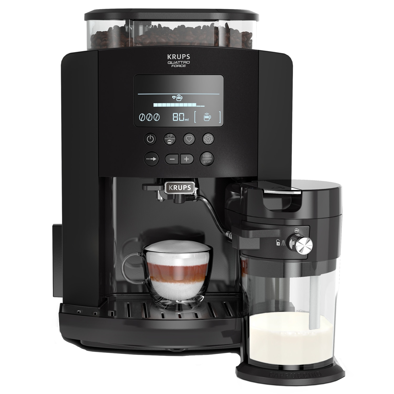 Fotografie Espressor automat Krups EA819N10 Arabica Latte, 1450 W, 15 bari, 1.7 L, display, accesoriu pentru lapte, Negru