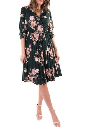 Rochie plisata Azalea, culoare verde, marime L