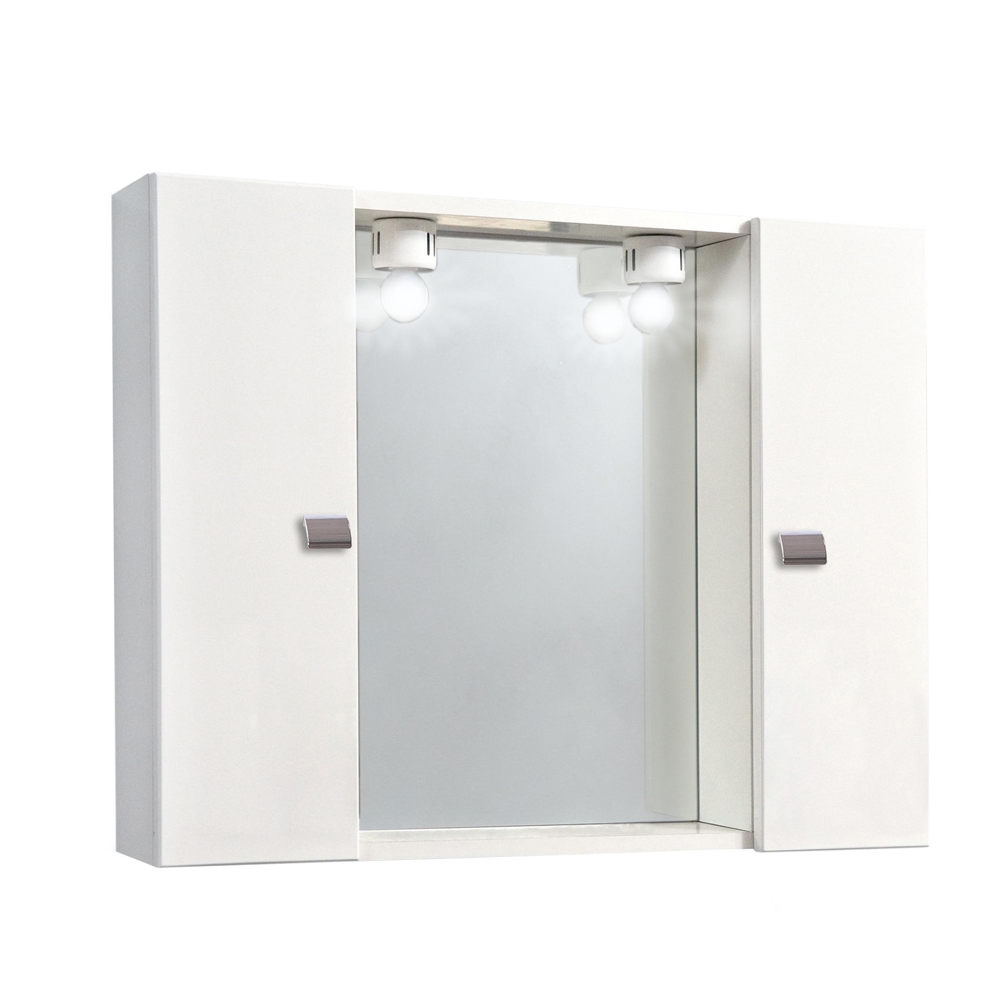 Fotografie Oglinda Kring, cu doua dulapioare albe si iluminare, 77x57x16cm