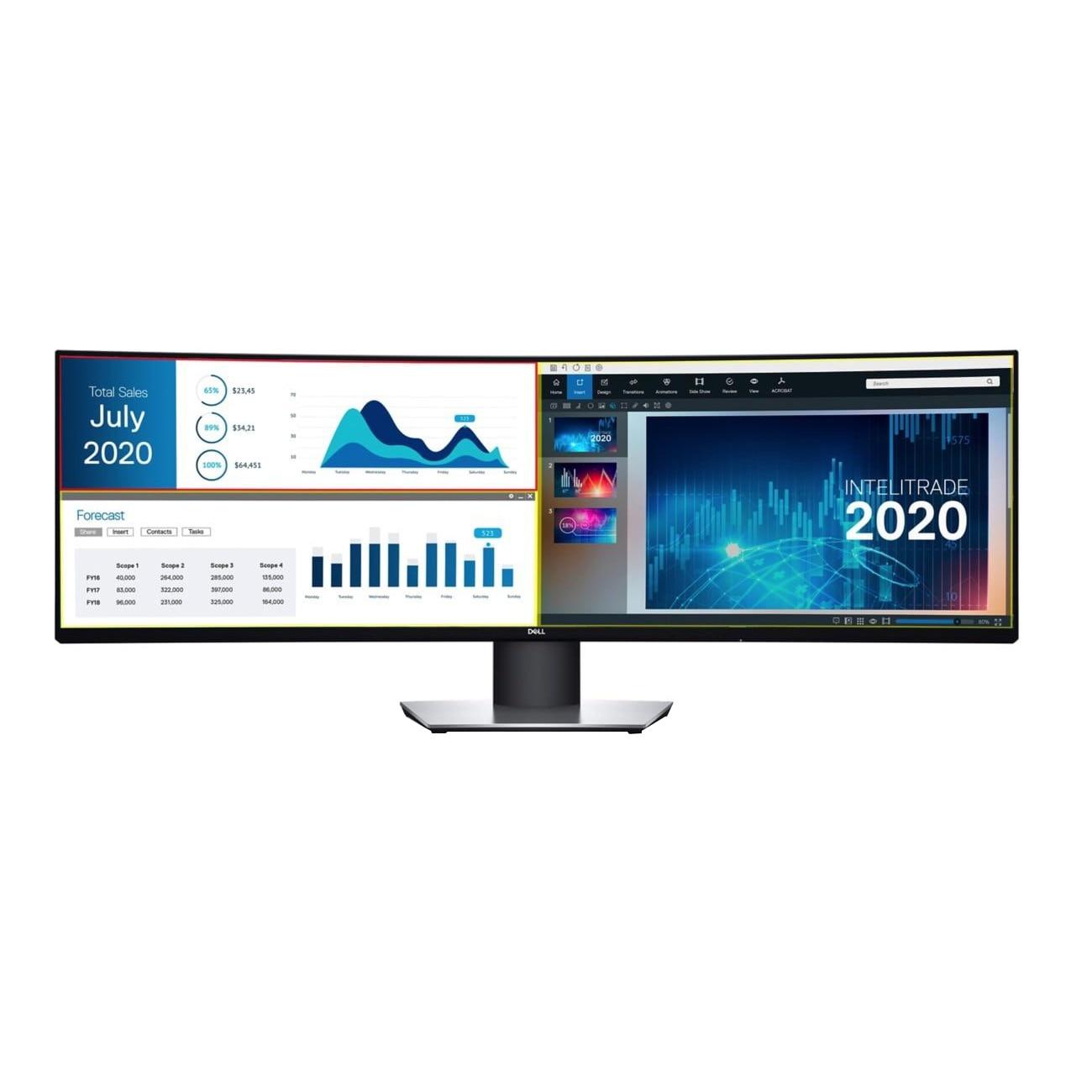 "Fotografie Monitor curbat LED IPS Dell 49"", Dual QHD, Display Port, Negru"