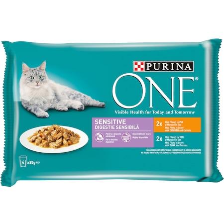 Hrana umeda pentru pisici adulte, Sensitive, cu pui si morcov si cu ton si morcov in sos One Bifensis 4x85g Purina