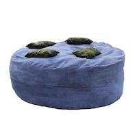 Пуф Pufrelax, тип барбарон, Размер XXXL, King Size Party с 4 декоративни възглавници - Dusty blue, Гама Plush Honey, Перящ се текстилен калъф, Пълнеж с микс от мемори пяна и дунапрен®
