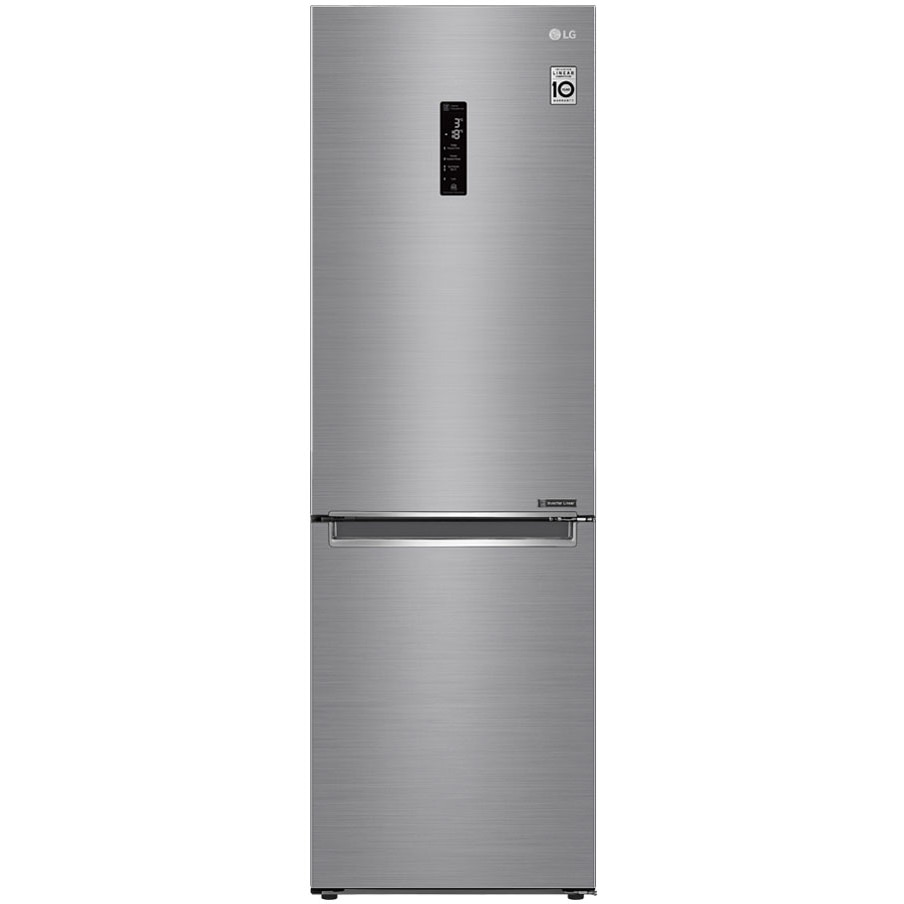 Fotografie Combina frigorifica LG GBB61PZHZN, 341 l, Full NoFrost, Compresor Inverter Linear, Display Extern, Clasa A++, H 186 cm, Argintiu
