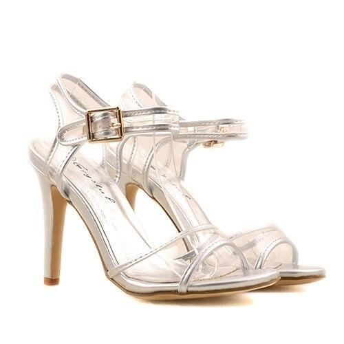 pe picioare imagini din Modă cod promoțional Sandale cu Toc Electra, Argintii, Marimea 35 - eMAG.ro