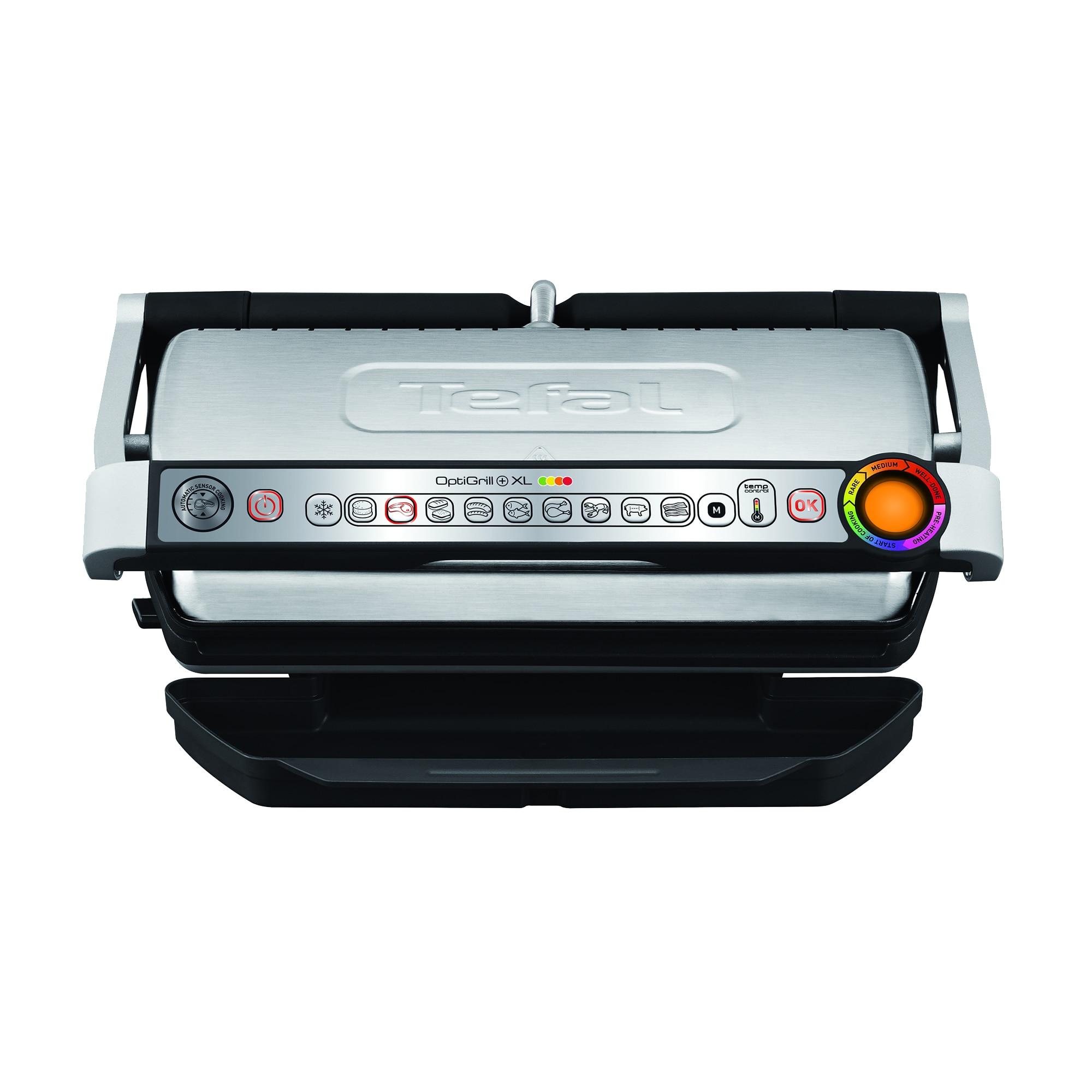 Fotografie Gratar electric TEFAL GC724D12 OptiGrill+ XL Snacking & Baking, 2000W, 9 programe de gatire, indicator pentru nivelul de gatire, argintiu