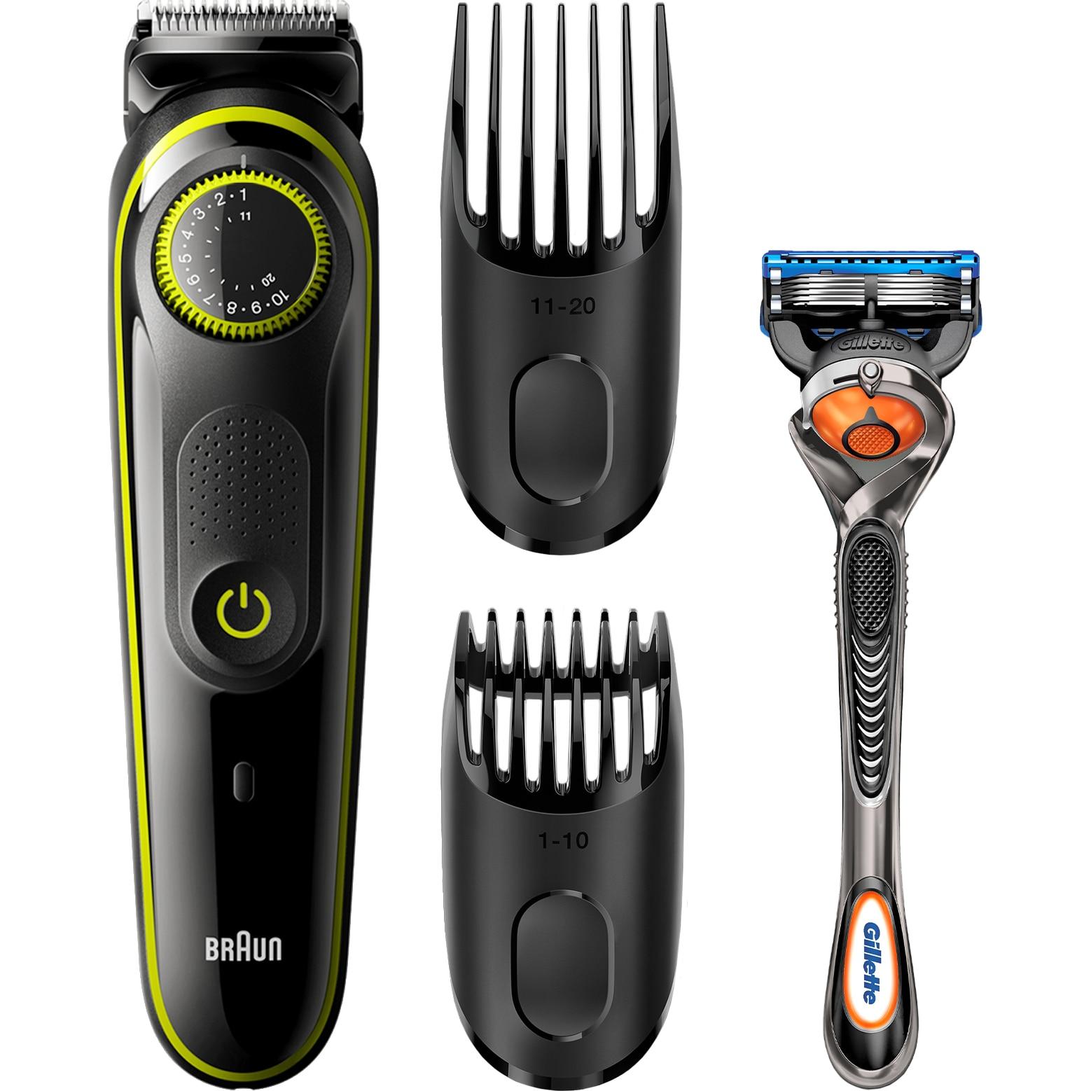 Braun BT3041 szakállvágó, 39 hosszbeállítás, 2 fésű, Gillette Fusion5 ProGlide borotva, Akkumulátor, Fekete