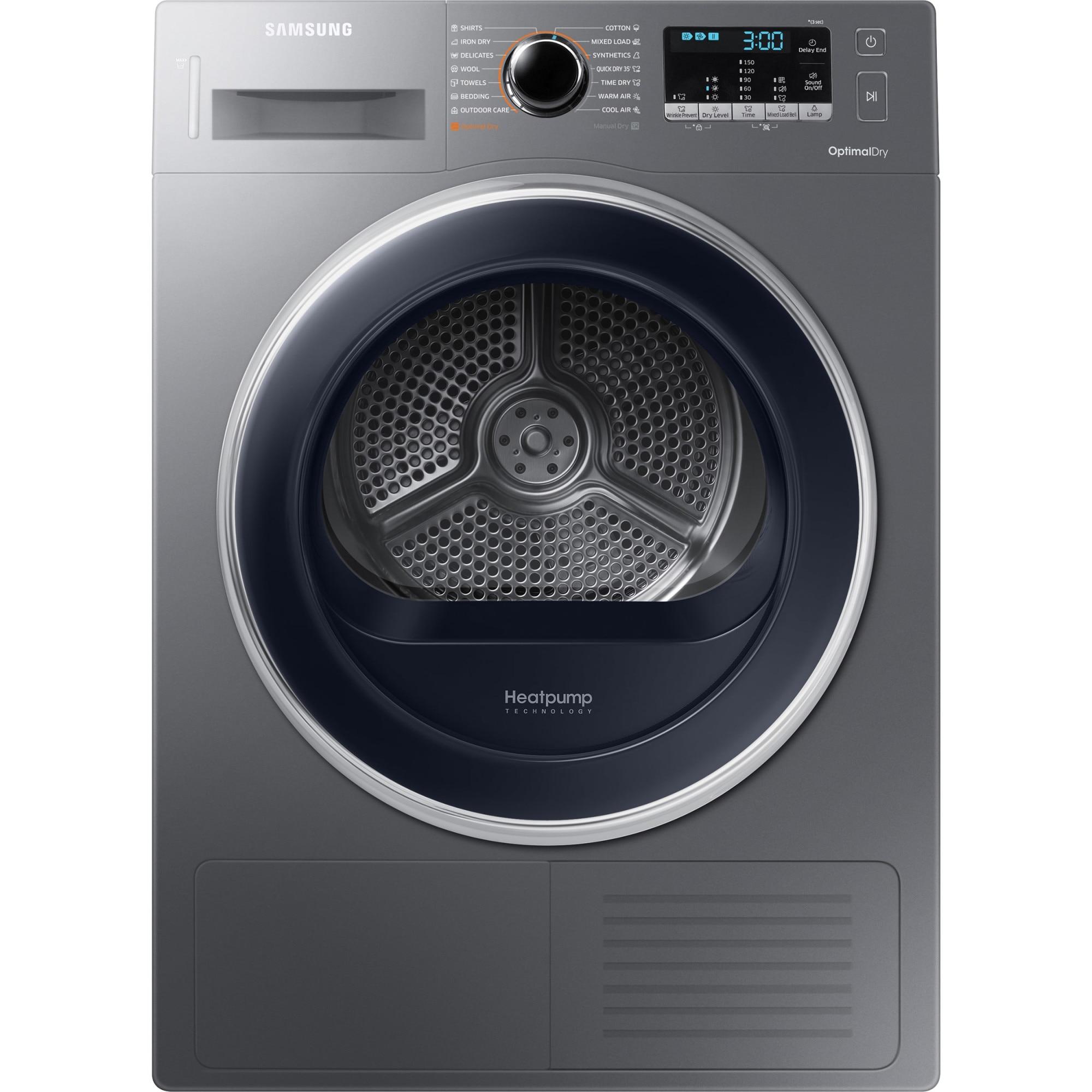 Fotografie Uscator de rufe Samsung DV90M5010QX/LE, Pompa de caldura, 9 kg, 18 programe, Clasa A++, Smart Check, Inox