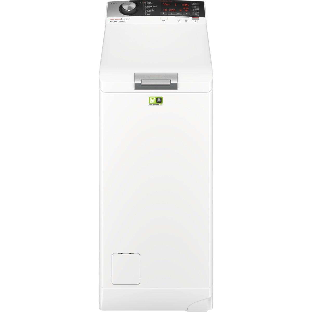 Fotografie Masina de spalat rufe cu incarcare verticala AEG LTX7C373E, 7 kg, 1300 RPM, Tehnologie ProSteam, Motor Inverter, Display LCD, Iluminare Tambur, Clasa D, Alb