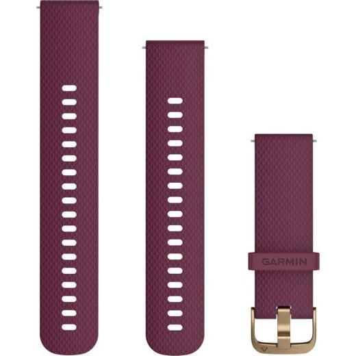 Fotografie Curea ceas smartwatch Garmin Quick Release, 20mm, Silicone, Berry/Gold