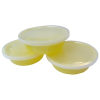 Csöpögésmentes fedővel ellátott tálkaszett - 3 db, R0516 sárga, Primii Pasi