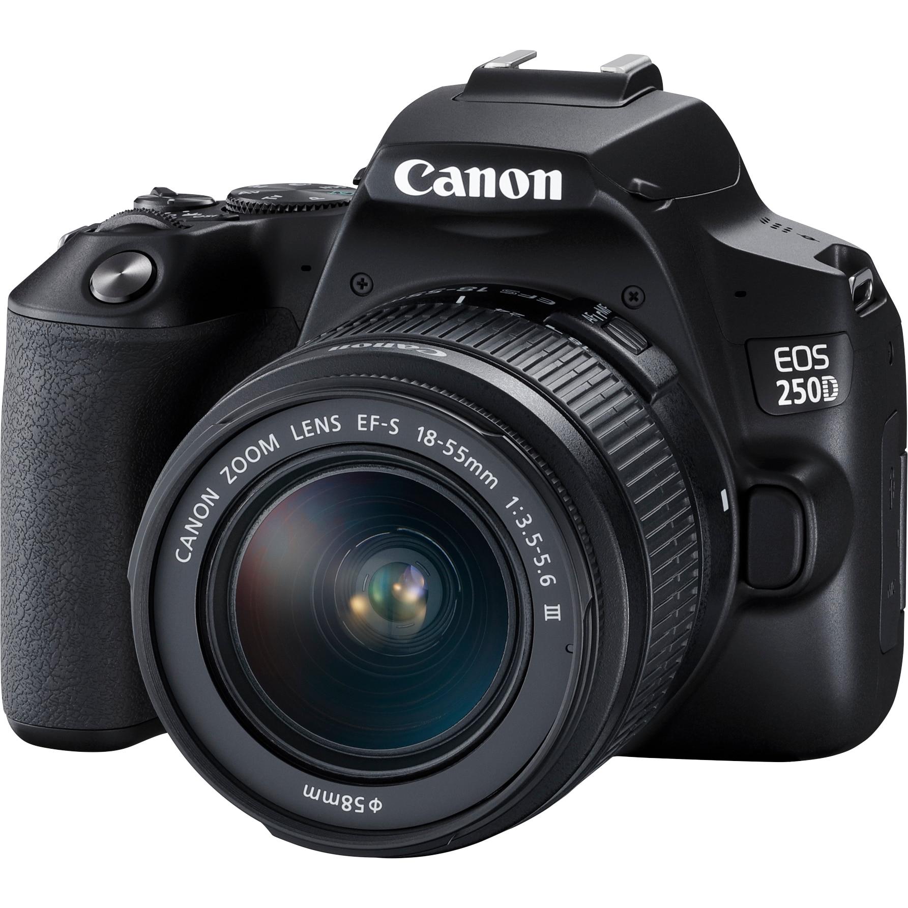 Fotografie Aparat foto DSLR Canon EOS 250D, 24.1 MP, Wi-Fi, 4K, Negru + Obiectiv EF-S 18-55mm, f/3.5-5.6 III
