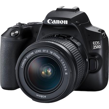 Фотоапарат DSLR Canon EOS 250D, 24.1 MP, Wi-Fi, 4K, Черен + Обектив EF-S 18-55 мм, f/3.5-5.6 III