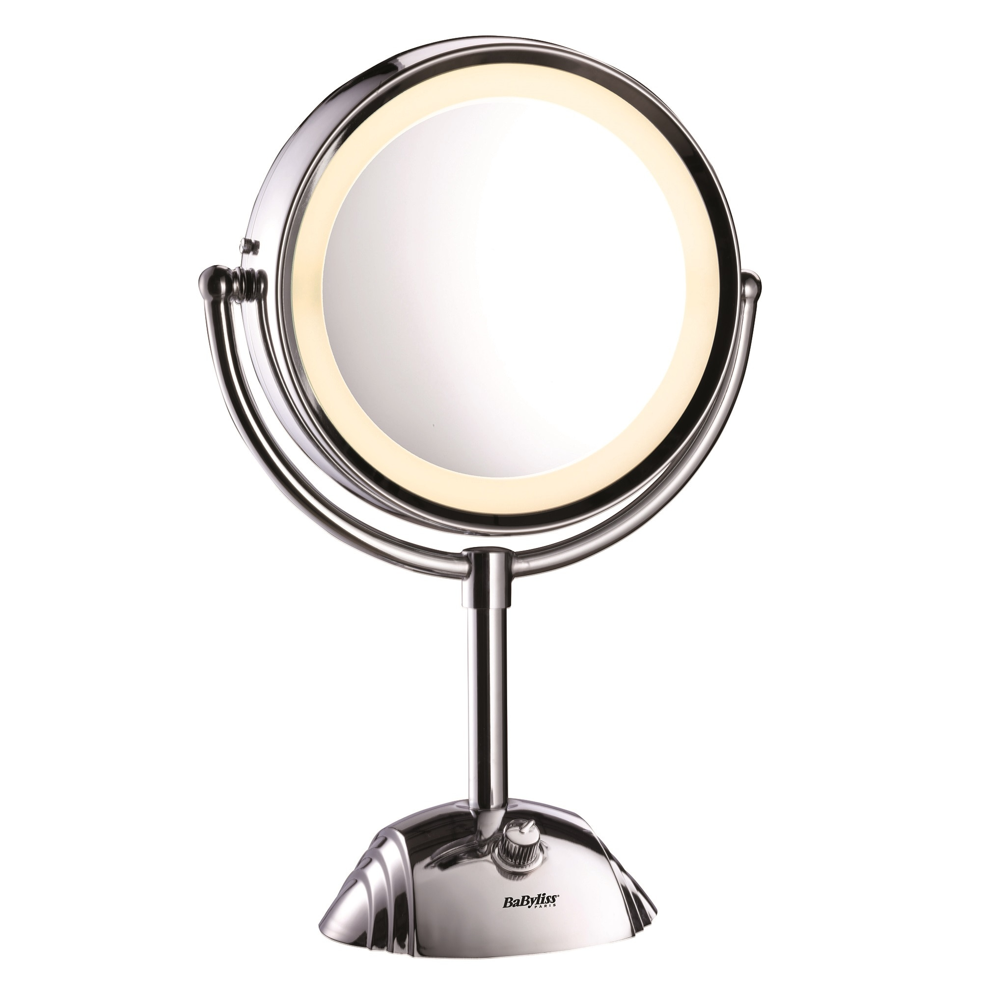 Fotografie Oglinda cosmetica iluminata BaByliss 8438E, Led, 20.5 cm, 2 suprafete de oglinda, Baterii, Alb