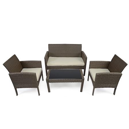 Set mobilier gradina/terasa Kring Bahamas, masa, canapea, 2 fotolii, bej