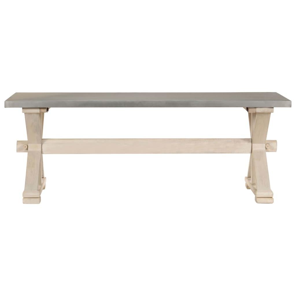vidaXL tömör mangófa dohányzóasztal cinkkel bevont lap 110x60x40 cm nNfV4v