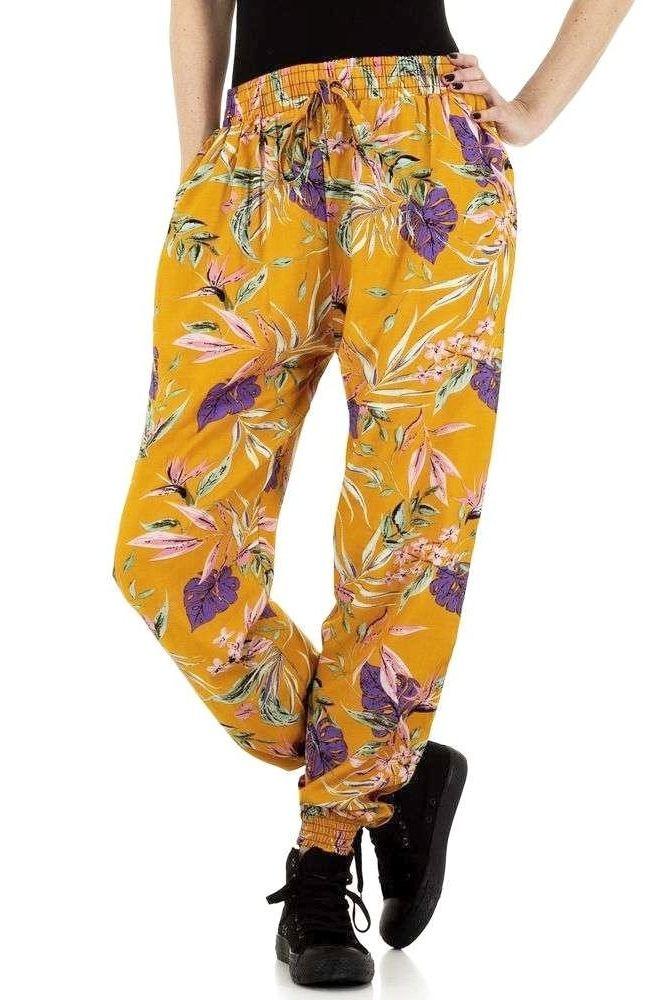 amazon oferta specifica pantofi de separare Pantaloni dama, Holala, FPT223249CMD, galben, imprimeu floral, din bumbac,  S/M INTL - eMAG.ro