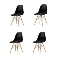 GoodHome készlet 4x modern szék konyha, nappali, étkező vagy kültéri használathoz, PC-005 modell, Fekete szín