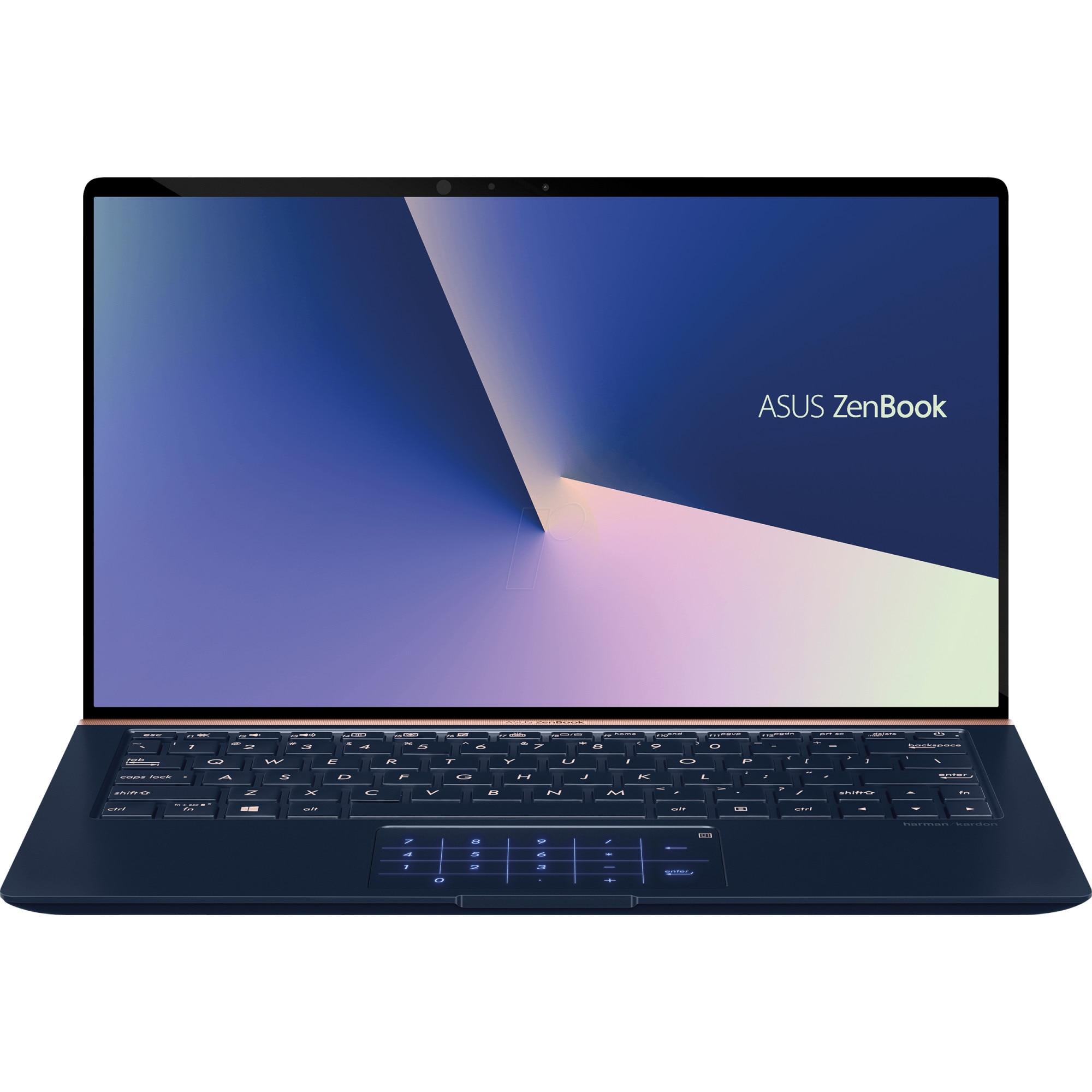 "Fotografie Laptop ultraportabil ASUS ZenBook 13 UX333FN cu procesor Intel® Core™ i7-8565U pana la 4.60 GHz, Whiskey Lake, 13.3"", Full HD, 16GB, 512GB SSD, NVIDIA GeForce MX150 2GB, Endless OS, Royal Blue"