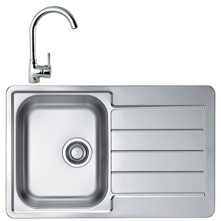 Комплект мивка Alveus Line 80, 790x500 мм, Ляво корито, Дълбочина 160 мм, Inox + Смесител Karina