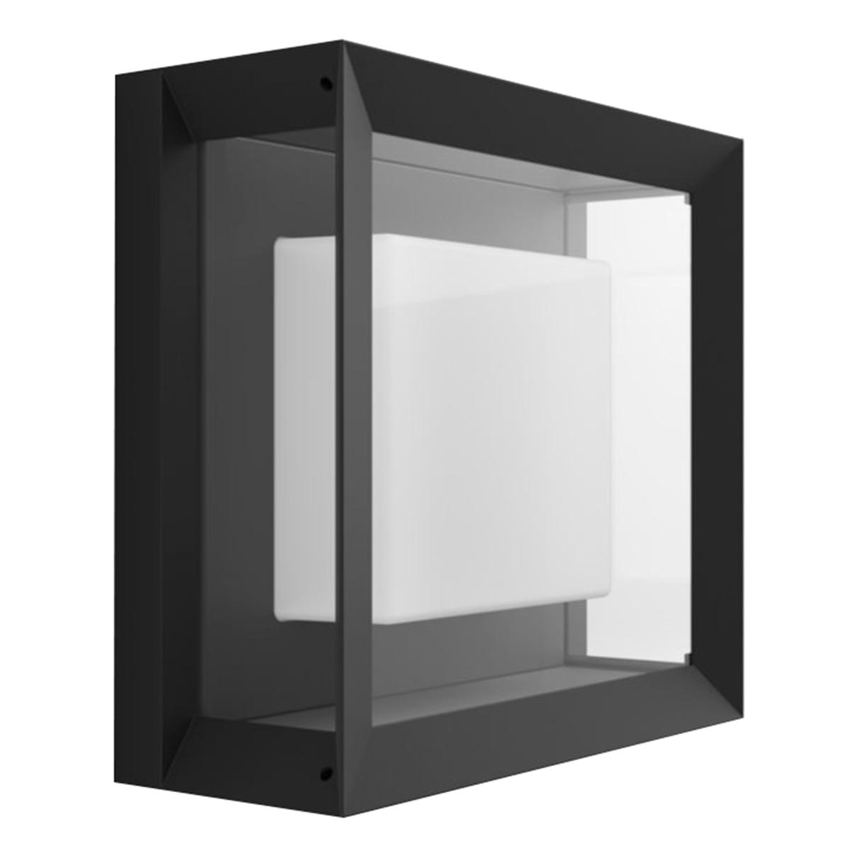 Fotografie Aplica exterior LED RGBW integrat Philips Econic HUE, control inteligent cu Hue Bridge, 15W (79W), 1150 lm, lumina alba/color, IP44, patrat, metal/sticla, Negru